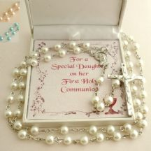 Rosary Beads for A Girls First Holy Communion